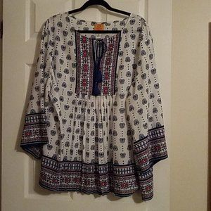 Ruby Rd Boho Pleated-Front Blouse